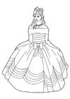 Disegno da colorare principessa con vestito