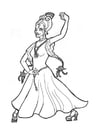 Disegno da colorare principessa danzatrice flamenco