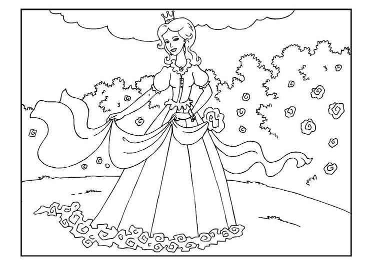 Disegno Da Colorare Principessa In Giardino Disegni Da Colorare