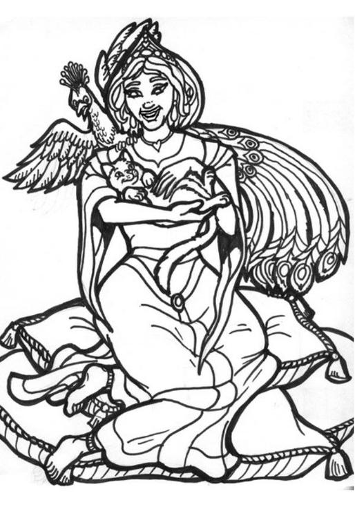 Disegno Da Colorare Principessa Pavone Cat 6021