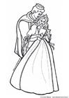 Disegno da colorare prinicipe e principessa