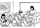 Disegno da colorare professoressa in classe