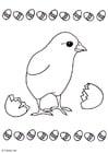 Disegno da colorare pulcino dall'uovo