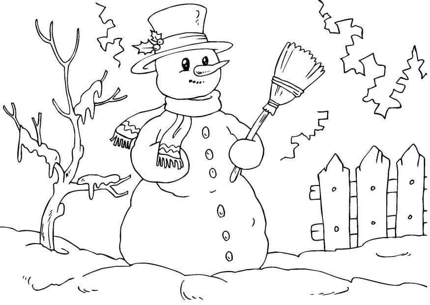 Disegno da colorare pupazzo di neve Cat 23073