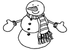 Disegno da colorare pupazzo di neve