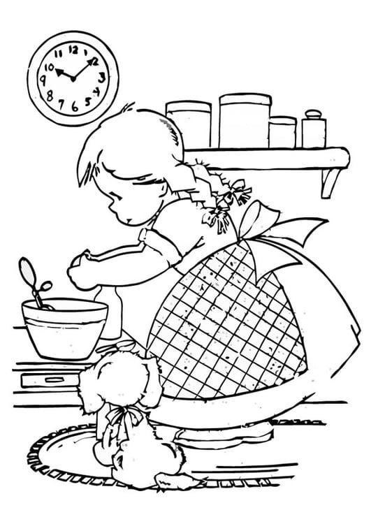 Disegno da colorare ragazza che cucina - Cat. 16593.