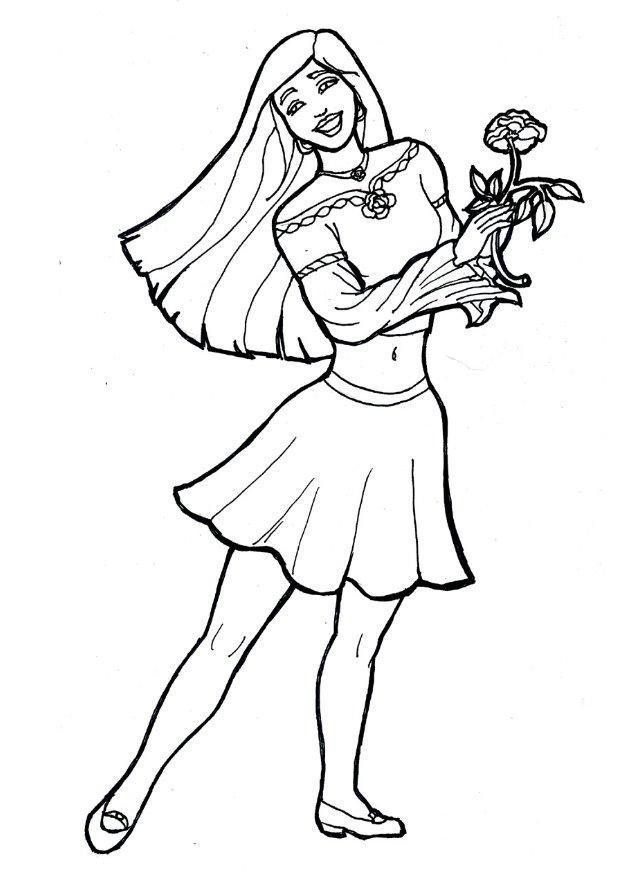 Disegno da colorare ragazza con fiore cat 7174 - Immagine di una ragazza a colori ...