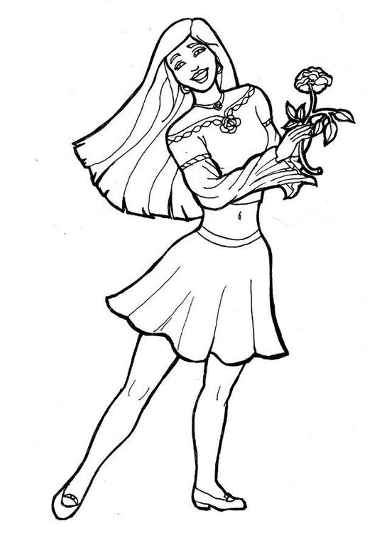 Disegno da colorare ragazza con fiore cat 7174 - Pagine da colorare per ragazza ...