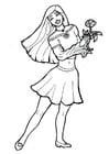 Disegno da colorare ragazza con fiore