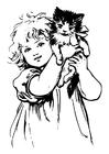 Disegno da colorare ragazza con gatto