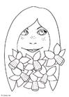 Disegno da colorare ragazza con narcisi
