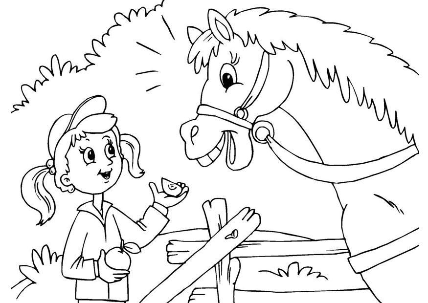 Ragazzi Da Colorare: Disegno Da Colorare Ragazza E Cavallocavalli, Cavallo
