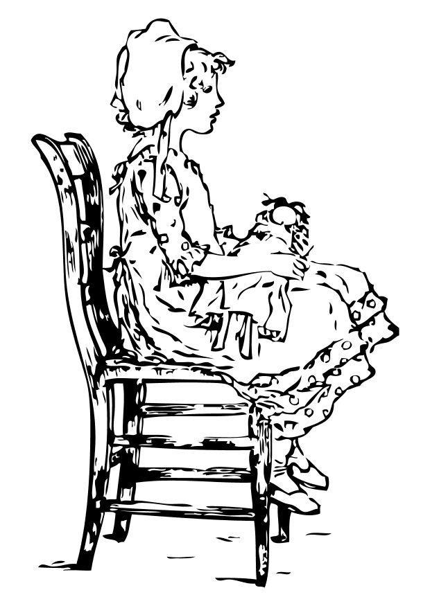 Disegno da colorare ragazza sulla sedia cat 10559 - Sedia a dondolo disegno ...