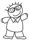 Disegno da colorare ragazzo con gli occhiali