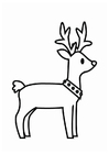 Disegno da colorare renna di Natale