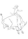 Disegno da colorare rodeo sul bizonte