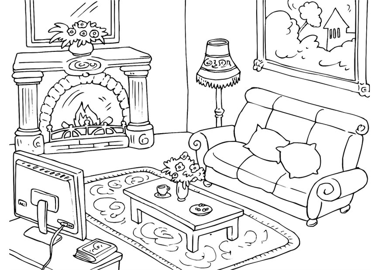 coloring pages simple living room - photo#9