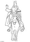 Disegno da colorare San Nicola a cavallo