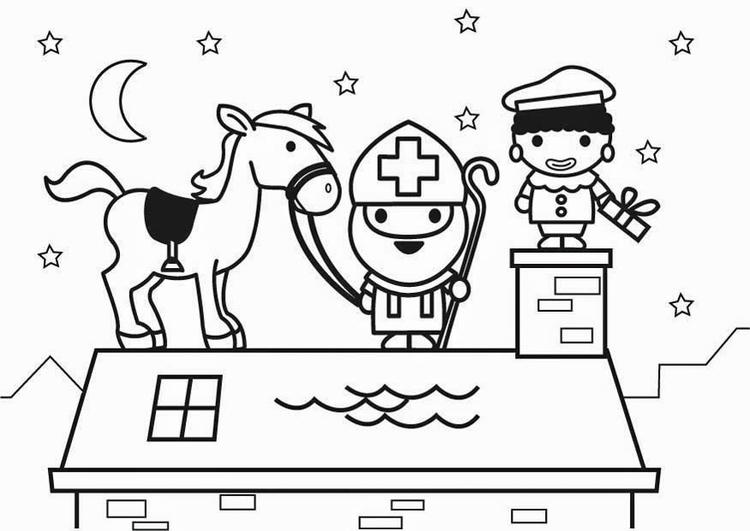 Sinterklaas Kleurplaat Schoen Disegno Da Colorare San Nicola E Il Suo Cavallo Sul Tetto