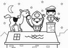 Disegno da colorare San Nicola e il suo cavallo sul tetto