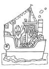 Disegno da colorare San Nicola sulla nave