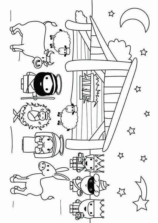 Pupazzo Di Neve >> Disegno da colorare scena della Natività - Cat. 26799.
