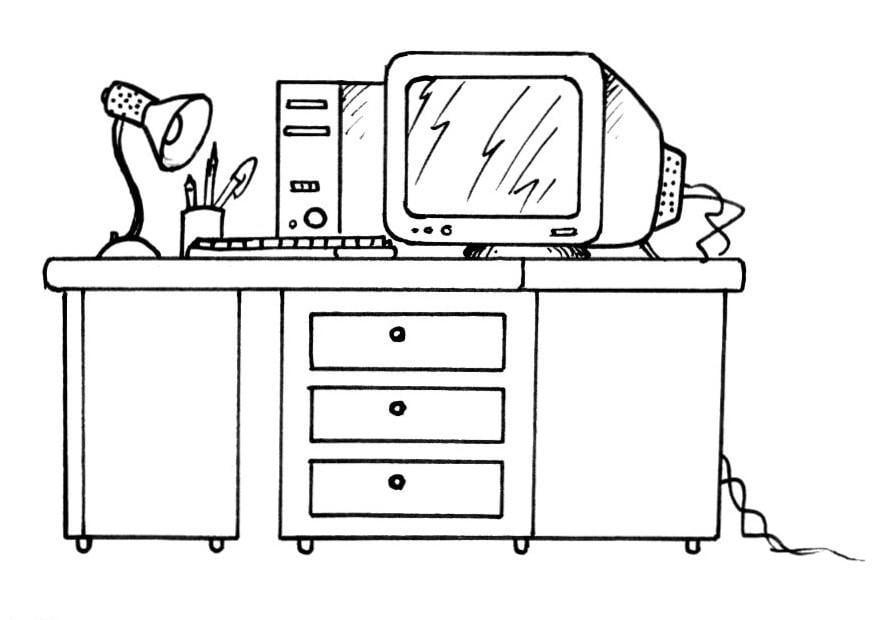 Disegno da colorare scrivania e computer - Cat. 8190.