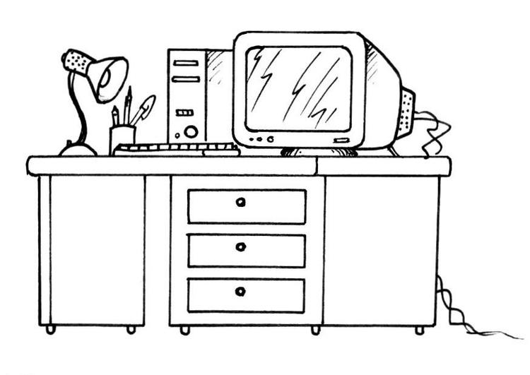 Disegno da colorare scrivania e computer cat 8190 for Disegni semplici della casa del bungalow