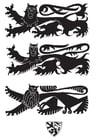 Disegno da colorare scudo con leoni