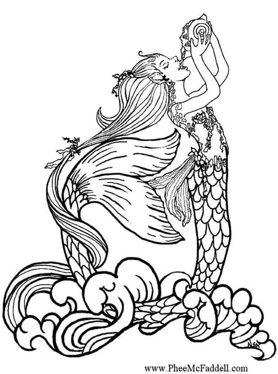 Disegno da colorare sirena che beve acqua piovana cat 6896 for Disegno pesciolino da colorare