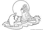 Disegno da colorare sirena con delfino