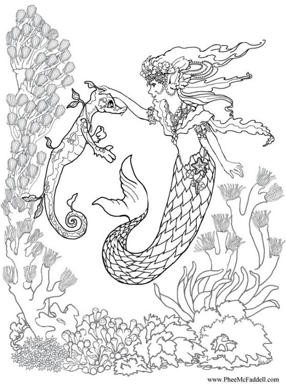Disegno Da Colorare Sirena E Cavalluccio Marino Cat 6881