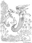 Disegno da colorare sirena e cavalluccio marino