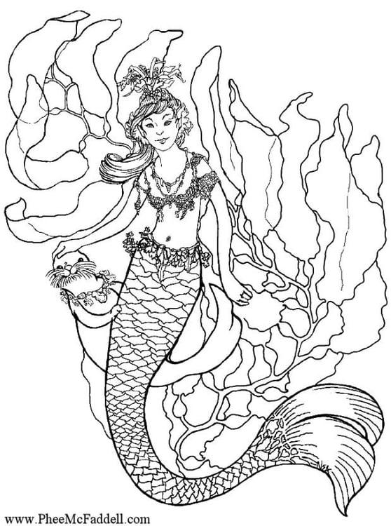 Disegno da colorare sirena sott 39 acqua cat 6895 - Sirena da colorare fogli da colorare ...