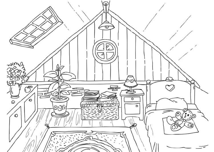 Disegno da colorare soffitta cat 26226 for Disegni della casa della cabina di ceppo