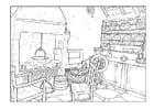 Disegno da colorare soggiorno 18esimo secolo