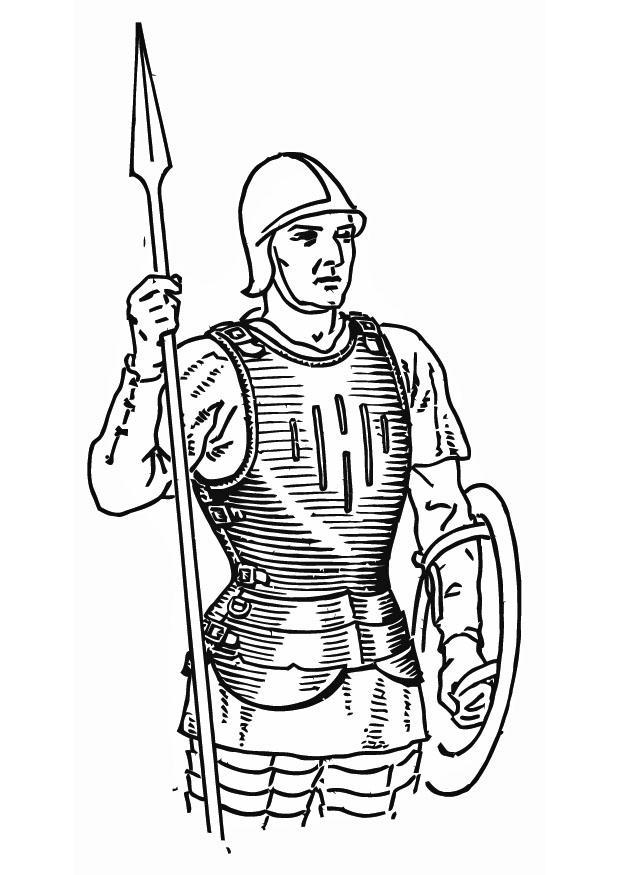 Disegno Da Colorare Soldato Con Corrazza Cat 13263