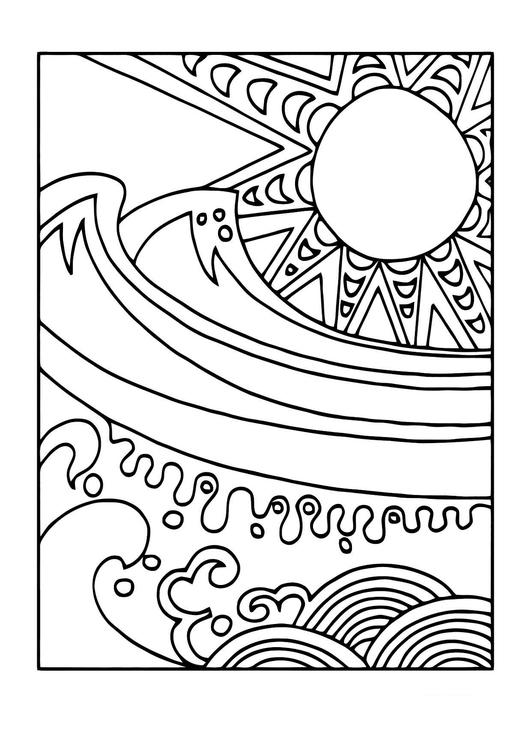 Disegno da colorare sole e mare disegni da colorare e for Immagini sole da colorare