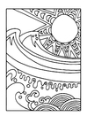 Disegno da colorare sole e mare