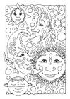 Disegno da colorare sole, luna e stelle
