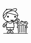 Disegno da colorare spazzatura nel bidone