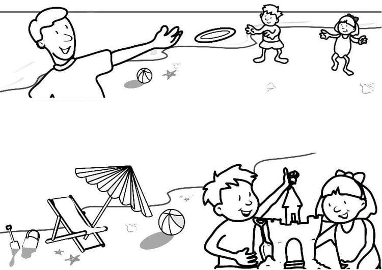 Disegno Da Colorare Spiaggia Cat 7321