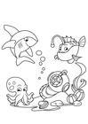 Disegno da colorare squalo con rana pescatrice e calamari in mare