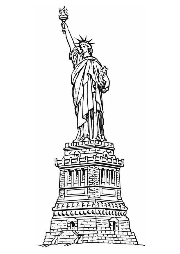 Disegno da colorare statua dell libert a new york cat for Disegni new york