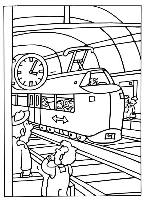 disegno da colorare stazione dei treni