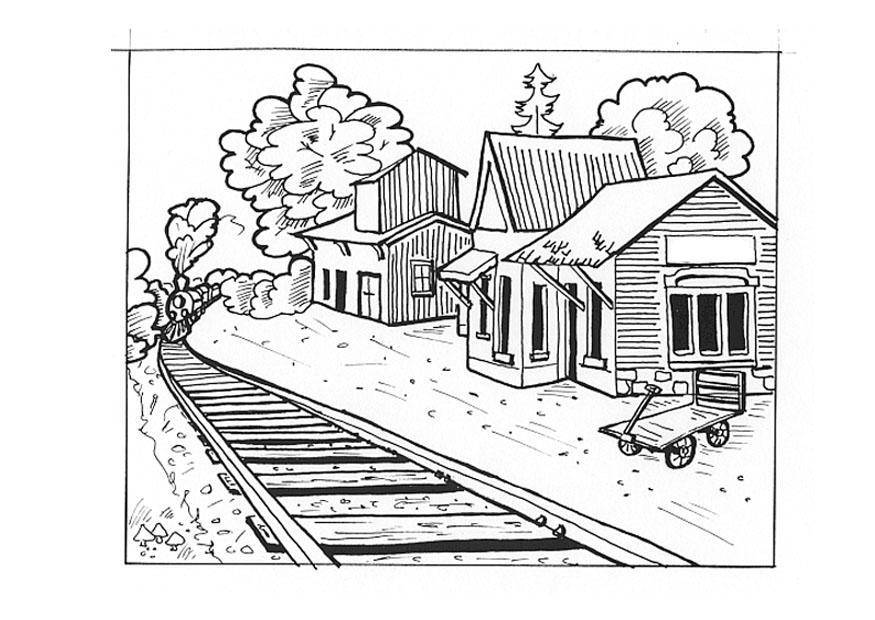 Disegno da colorare stazione ferroviaria cat 9538 - Immagini del treno per colorare ...