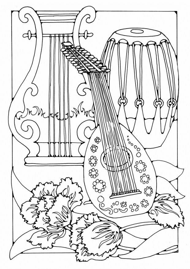 disegno da colorare strumenti musicali