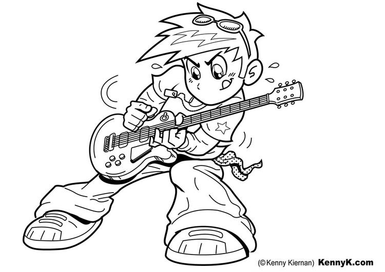 Disegno da colorare suonare la chitarra cat 20065 - Disegno finestra da colorare ...