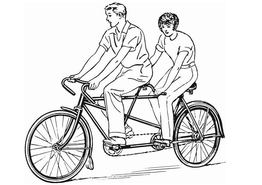 Disegno da colorare tandem immagini da stampare for Bicicletta immagini da colorare