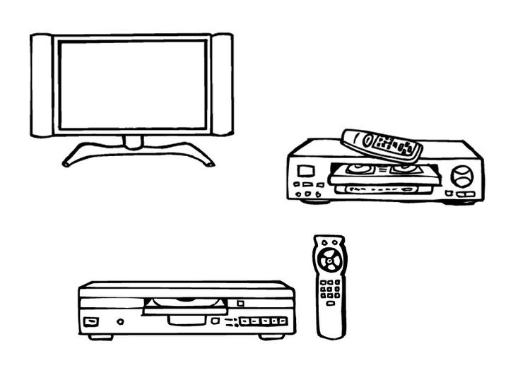 Disegno Televisione Da Colorare.Disegno Da Colorare Televisione Videoregistratore Dvd Disegni